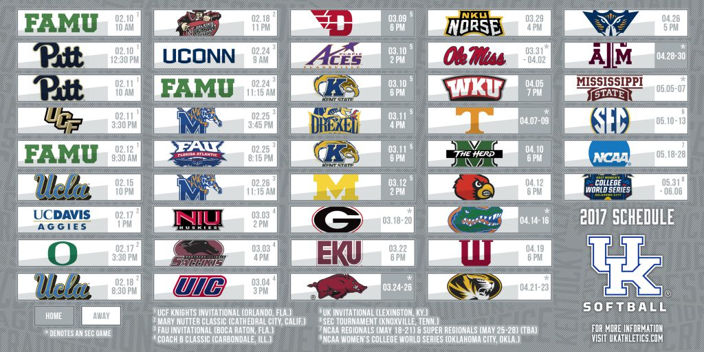2017 University of Kentucky Softball Schedule